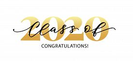 Class Of 2020. Congratulations. Lettering Graduation Logo. Modern Calligraphy. Vector Illustration.