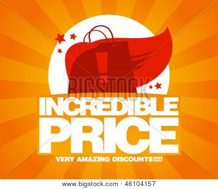 Incredible price, sale design template with shopping bag as a superhero.