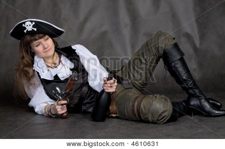 Drunken Girl - Pirate With Pistol And Bottle