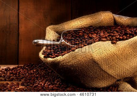 Coffee Beans In Burlap Sack