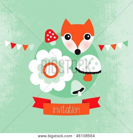 Adorable pastel hipster fox unisex cover template  illustration design in vector