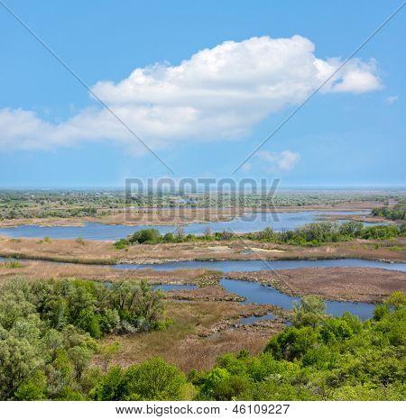 Delta Vorskla river in nice day, Ukraine
