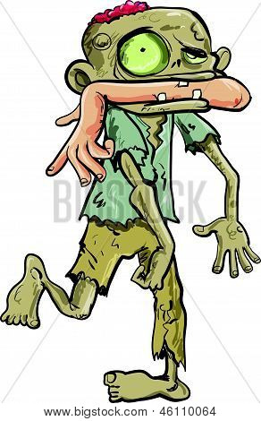 Cartoon of zombie biting a mans arm off. isolated on white