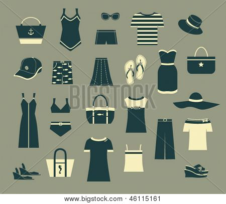 Summer Clothes and Accessories - Set of black and white simple clothing icons, including evening dresses, T-shirts, swimsuits, hats, shoes and tote bags