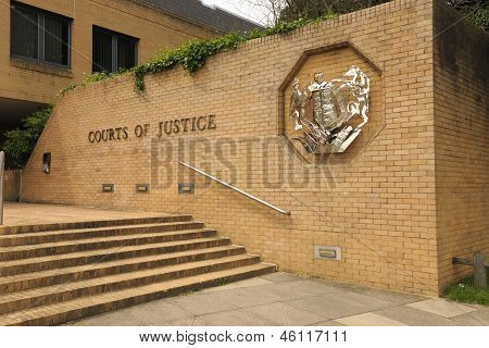 Courts of Justice. Southampton. England. Court entrance with royal crest. poster