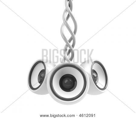 White Hanging Audio System Isolated