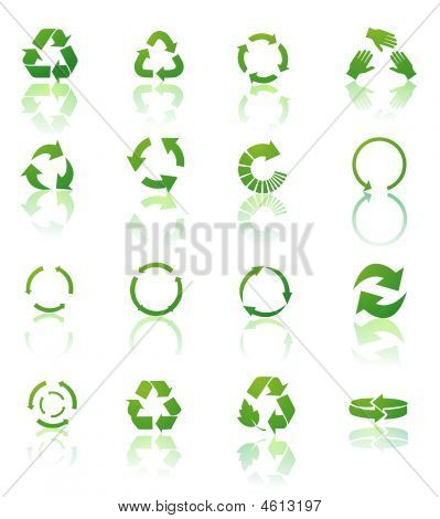 Recycle Icons Vector On White