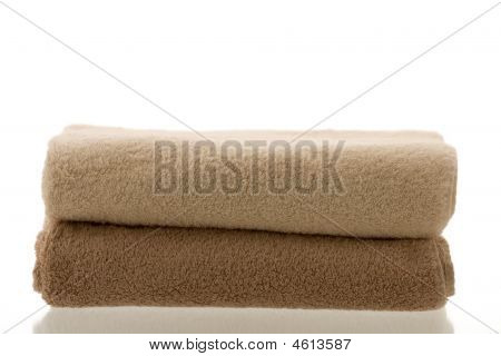 Two Folded Towels Beige And Brown