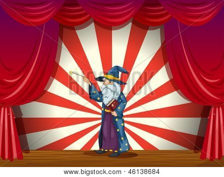 Illustration of a wizard holding a wand in the middle of the stage