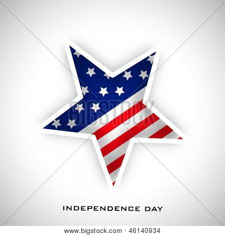 4th July, American Independence Day concept with star in American Flag colors on grey background. poster