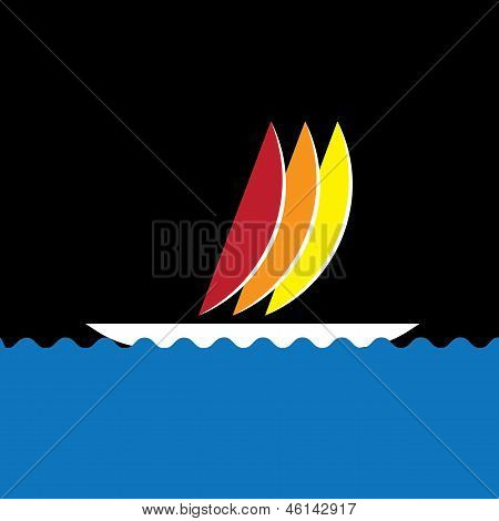 Colorful Sail-boat Or Canoe Icon Moving In Sea- Vector Graphic