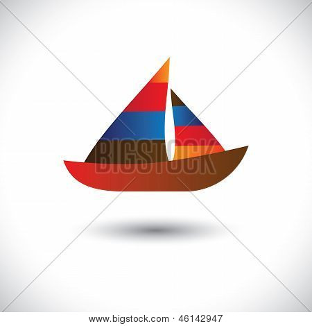 Colorful Sailboat Or Yacht Icon- Vector Graphic