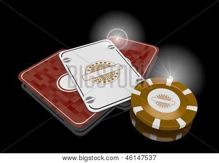 3d graphic of a exclusive label icon  on poker cards