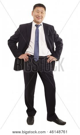 Full body portrait of happy asian businessman. Isolated on white background