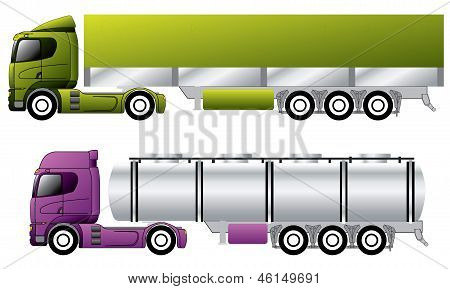 European trucks with trailers