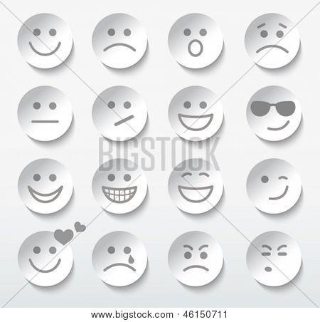 Conjunto de rostos com diferentes expressões de emoção.