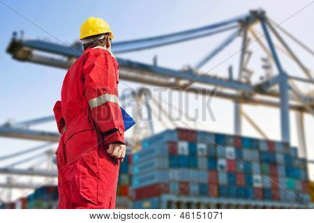 Conceptual image of international logistics, featuring a docker, looking at the unloading of a container ship by huge cranes in the distance poster
