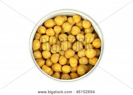 Closeup Chickpeas On A White Background With Clipping Path