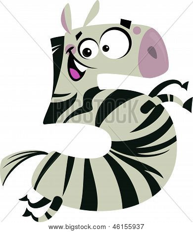 Number 5 excited cartoon zebra gallop