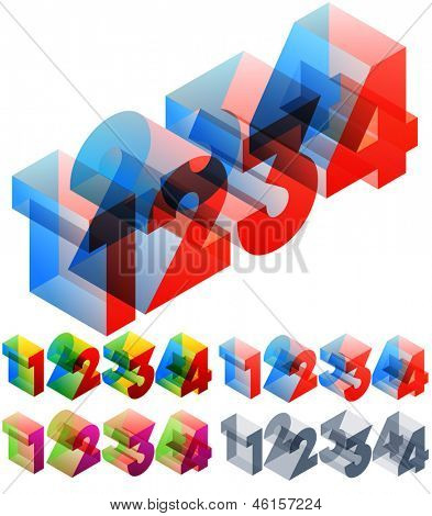 Vector illustration of colored text in isometric view. Standard characters. NUMBERS 1 2 3 4 5