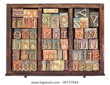 alphabet - letterpress wood type printing blocks in old typesetter drawer isolated on white