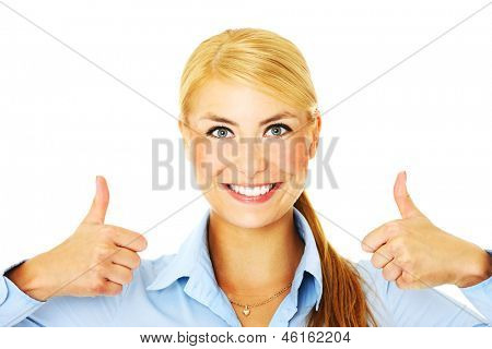 A picture of a young businesswoman showing ok sign over white background