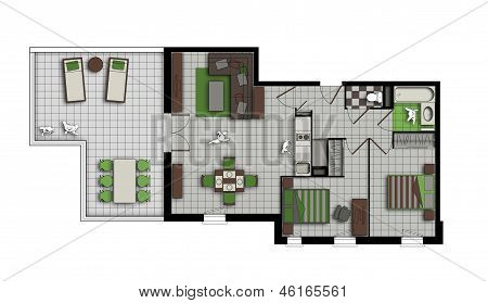 Three-room Apartment In Grey, Chocolate And Green Colors