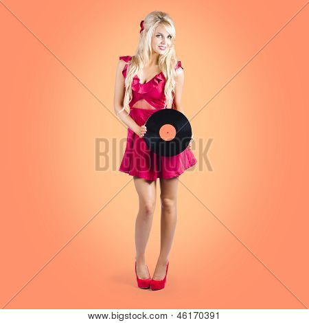 Pin-up Music Girl Holding Vinyl Record Lp