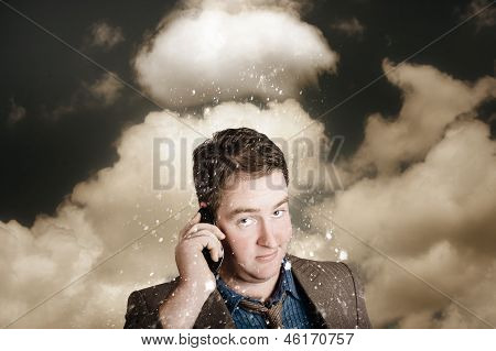 Businessman Having Bad Day. Communication Trouble