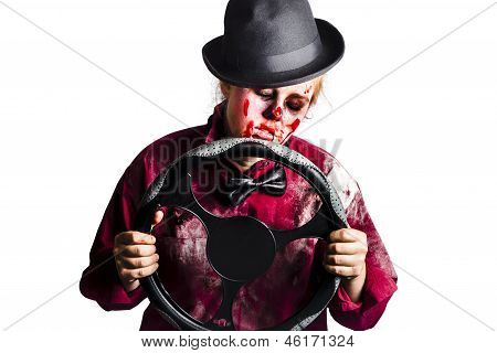 Bloody Woman With Steering Wheel