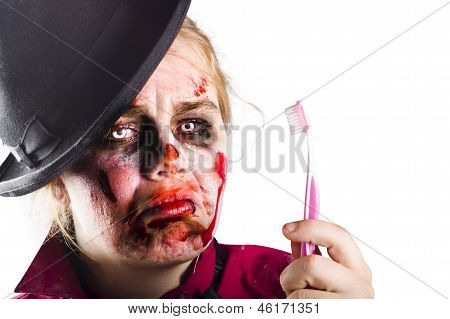 Zombie Woman With Toothbrush