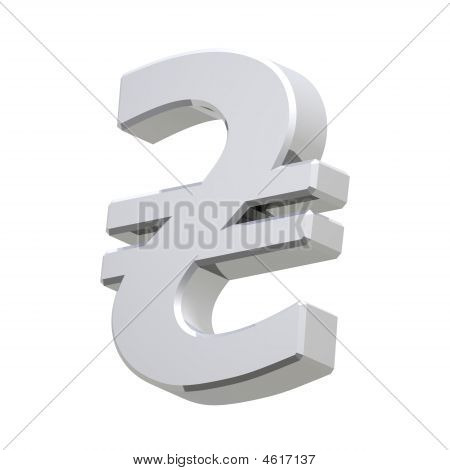 Silver Hryvnia Sign Isolated On White.