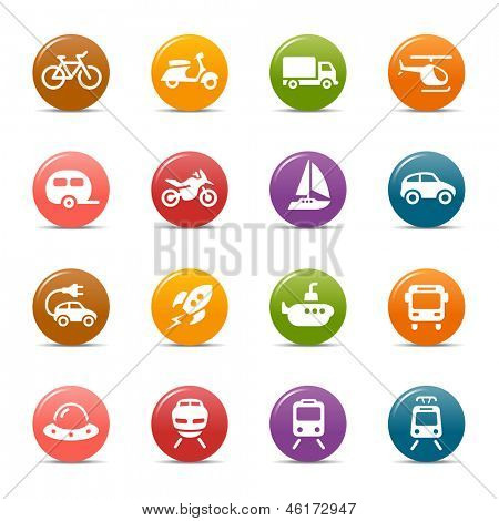 Colored Dots - Transportation icons poster