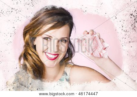 Nice Female Cleaner Washing Window With Smile