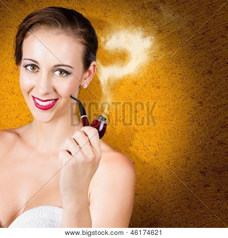Attractive Lady Pondering Solutions With Pipe