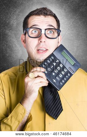 Finance Office Worker Thinking With Big Calculator