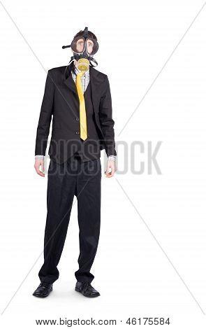 Businessman In Gas Mask