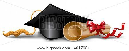 Graduation cap and diploma. Vector illustration.