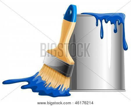Bucket of blue paint and brush. Vector illustration.