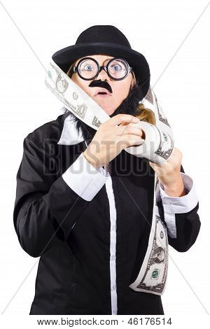 Person With Roll Of Money
