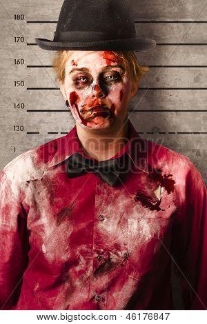Monster Police Mug Shot. Creepy Criminal