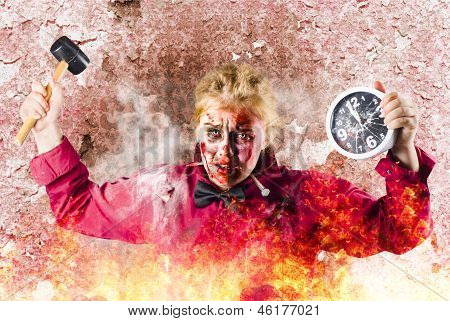 Burning Girl Holding Clock And Hammer. Apocalypse Now