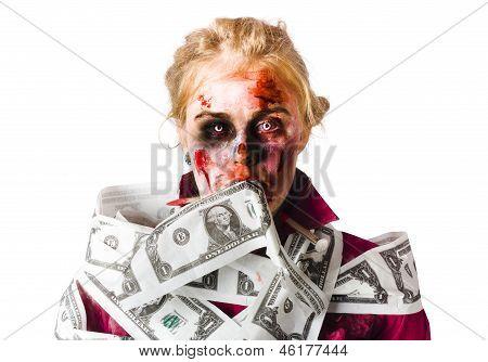 Worried Zombie With Dollar Bills