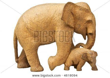 Elephants Wood Carving.