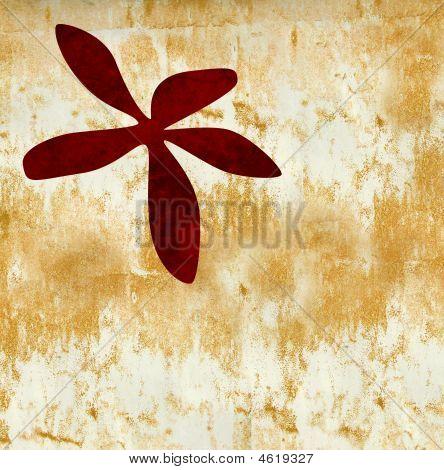 Red Flower On Gold Grunge Textrued Bakground