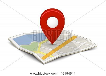 Map with a pin