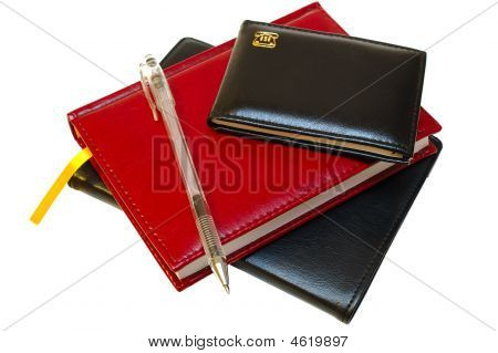Three Notebooks And Jell Pen.