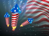 4th of July, American Independence Day celebration background with fire cracker. poster