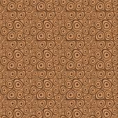 Vector seamless pattern with brown uneven doodle circles on beige background,  closely spaced to each other poster
