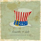 Hat in American National Flag colors on vintage background for 4th July, Independence Day poster